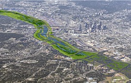 Artist concept of the Dallas Floodway Project with meanders back into the Trinity River