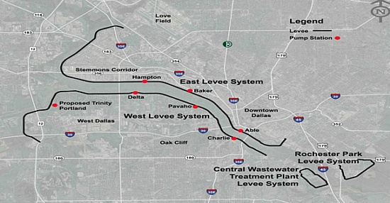 Map of the Dallas Floodway with existing and proposed pump stations